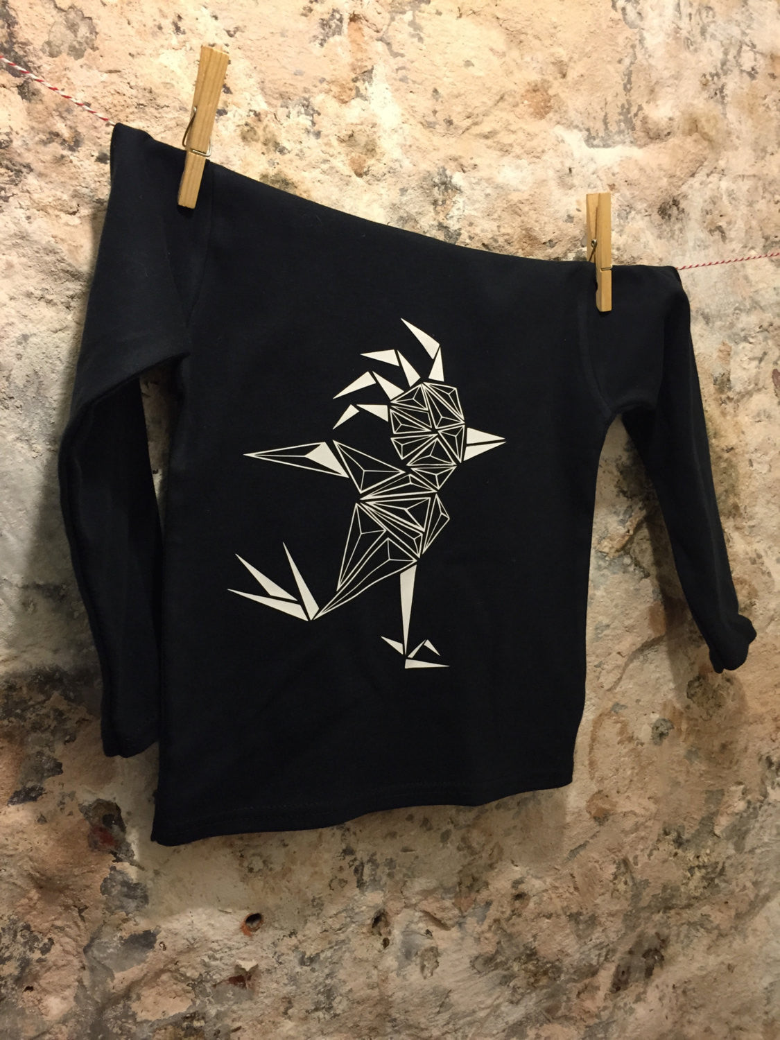 Black kids shirt long sleeved geometric bird - ARTsy clothing - 1