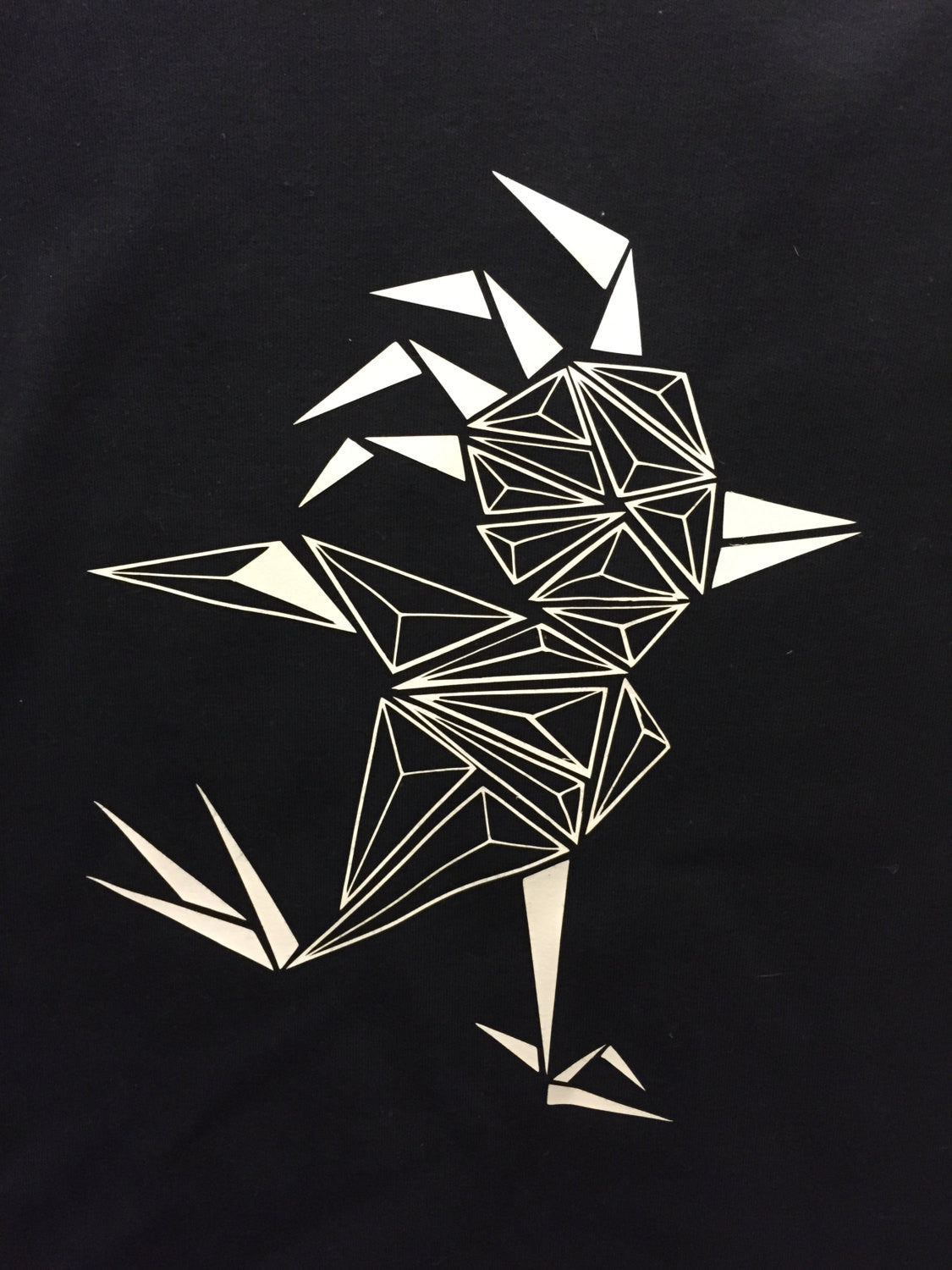 Black kids shirt long sleeved geometric bird - ARTsy clothing - 2