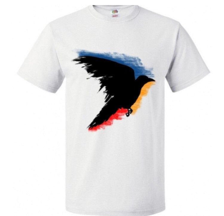 Black raven t shirt, hand painted crow bird - ARTsy clothing - 1