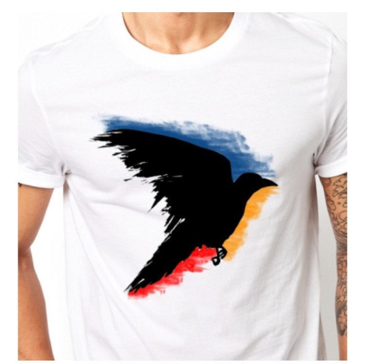 Black raven t shirt, hand painted crow bird - ARTsy clothing - 2