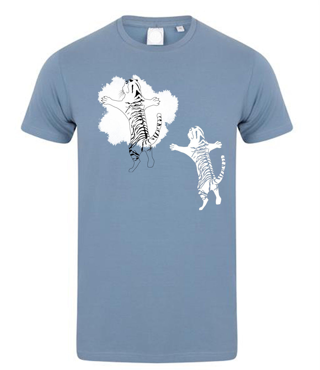 T-shirts - Double Tiger Men T-shirt, Stone Blue