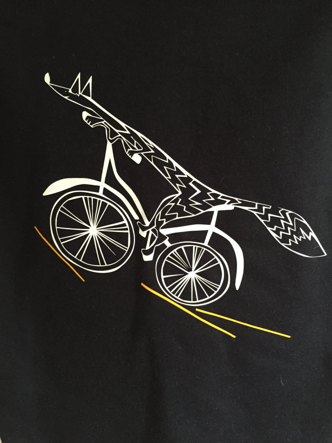 Fox bike kids t shirt, black and white - ARTsy clothing - 2