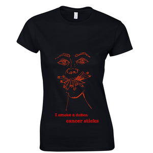 Placebo inspired women t-shirt, smoking cancer sticks - ARTsy clothing - 1