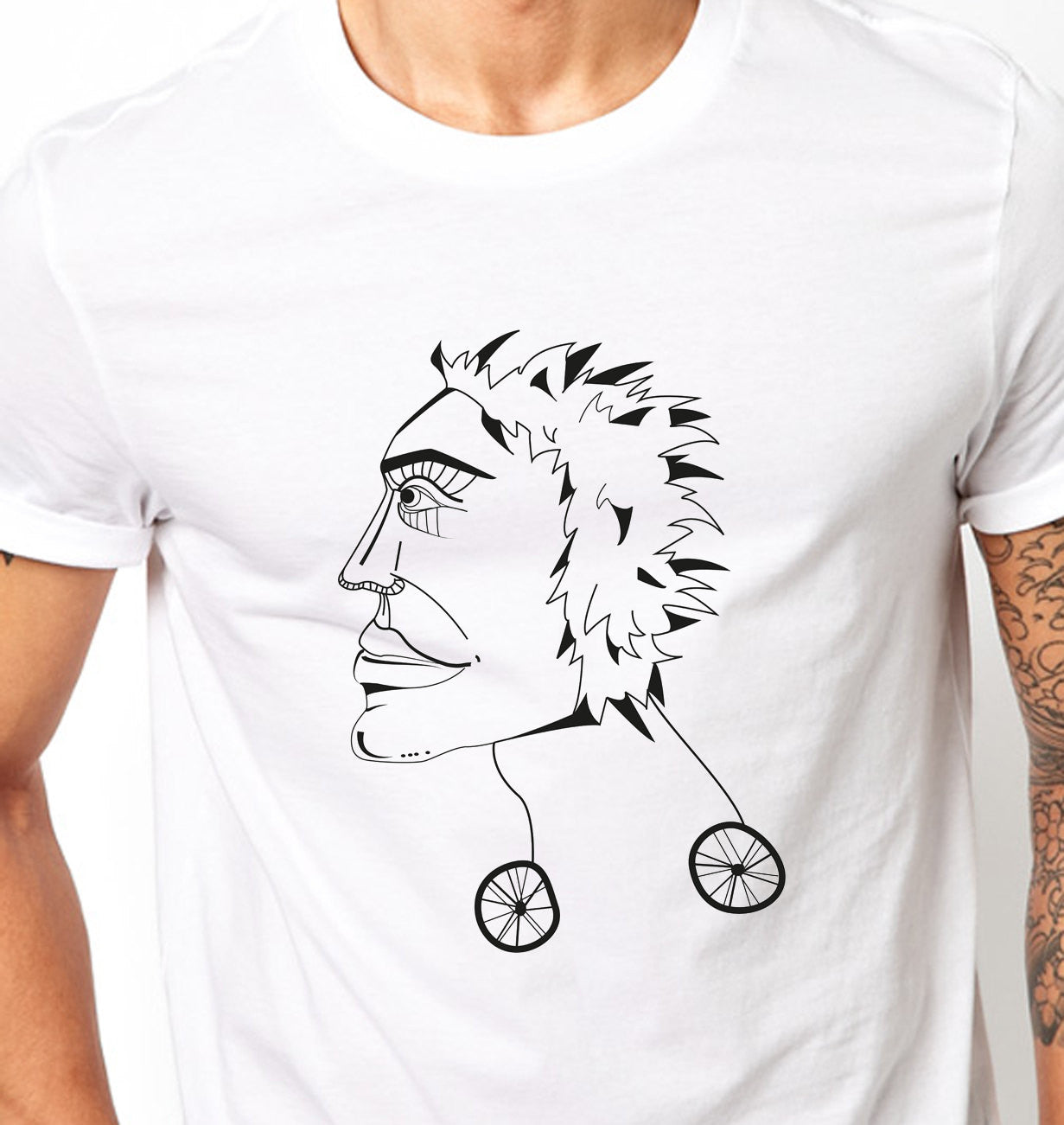 Punk t shirt face on wheels alternative - ARTsy clothing - 2