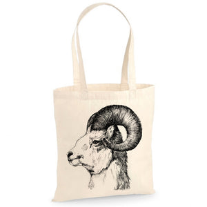 Mountain goat tote bag, by Gill Pollitt