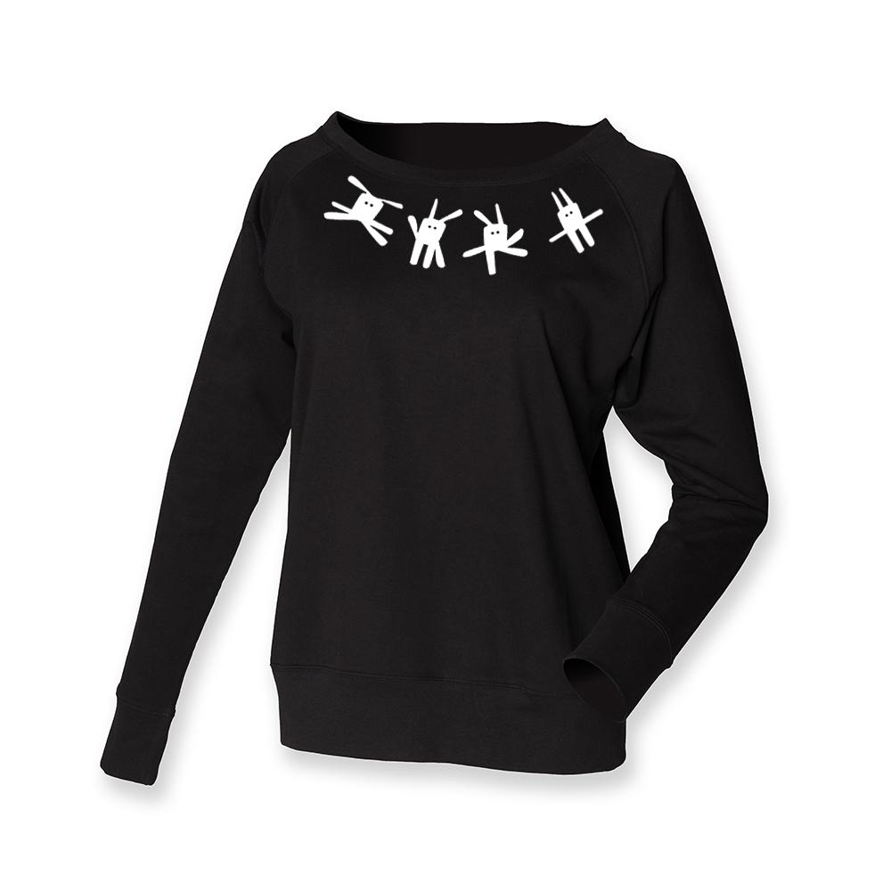 Women Top - Black Jumper, Bunnies