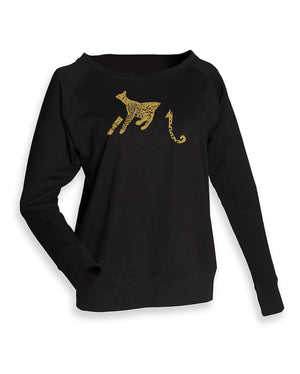 Women Top - Black Jumper, Leopard