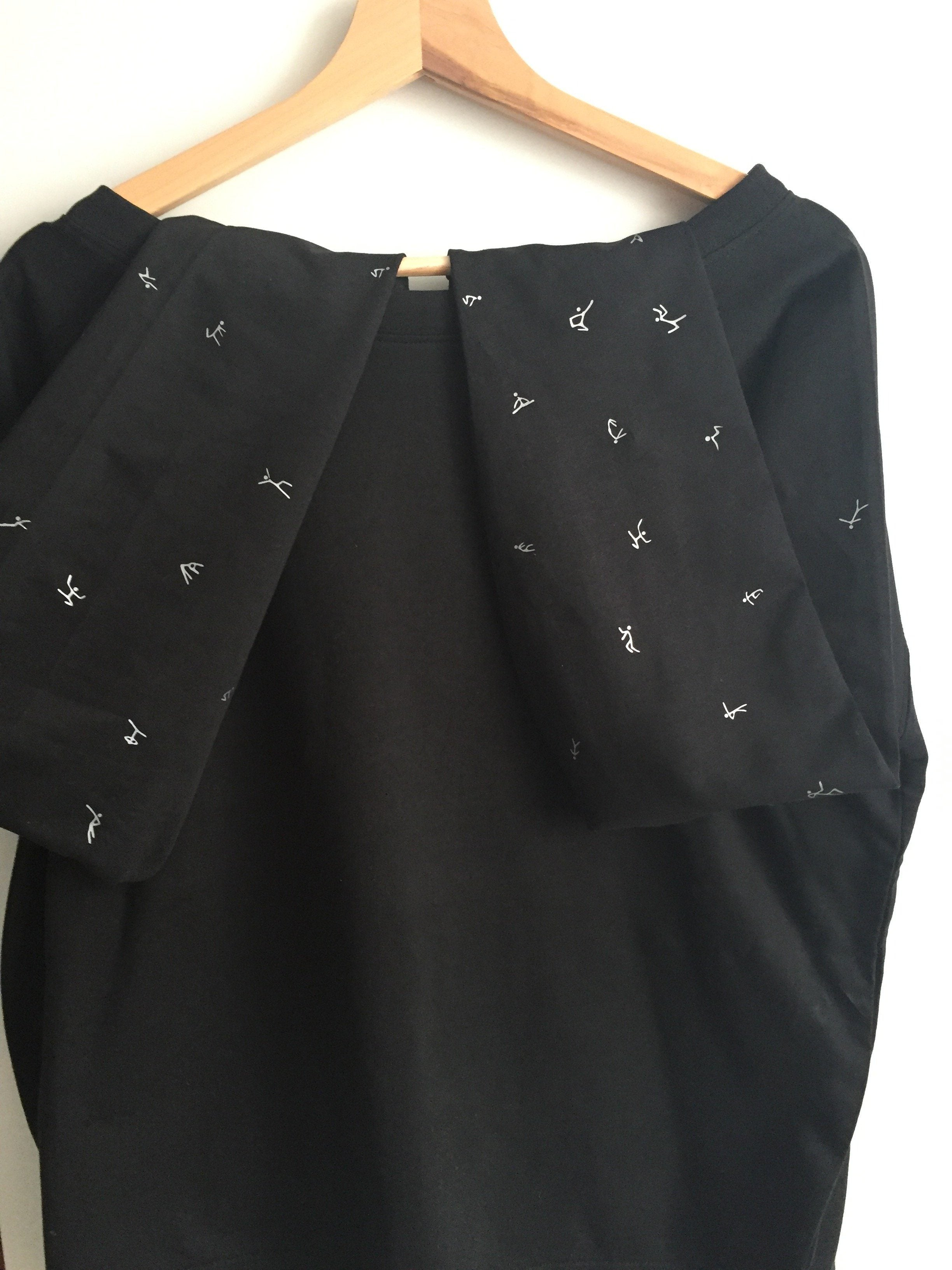 Women Top - Black Jumper, Silver Stick Figures