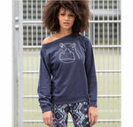 Women Top - Blurry Hippo Jumper, Navy Marl