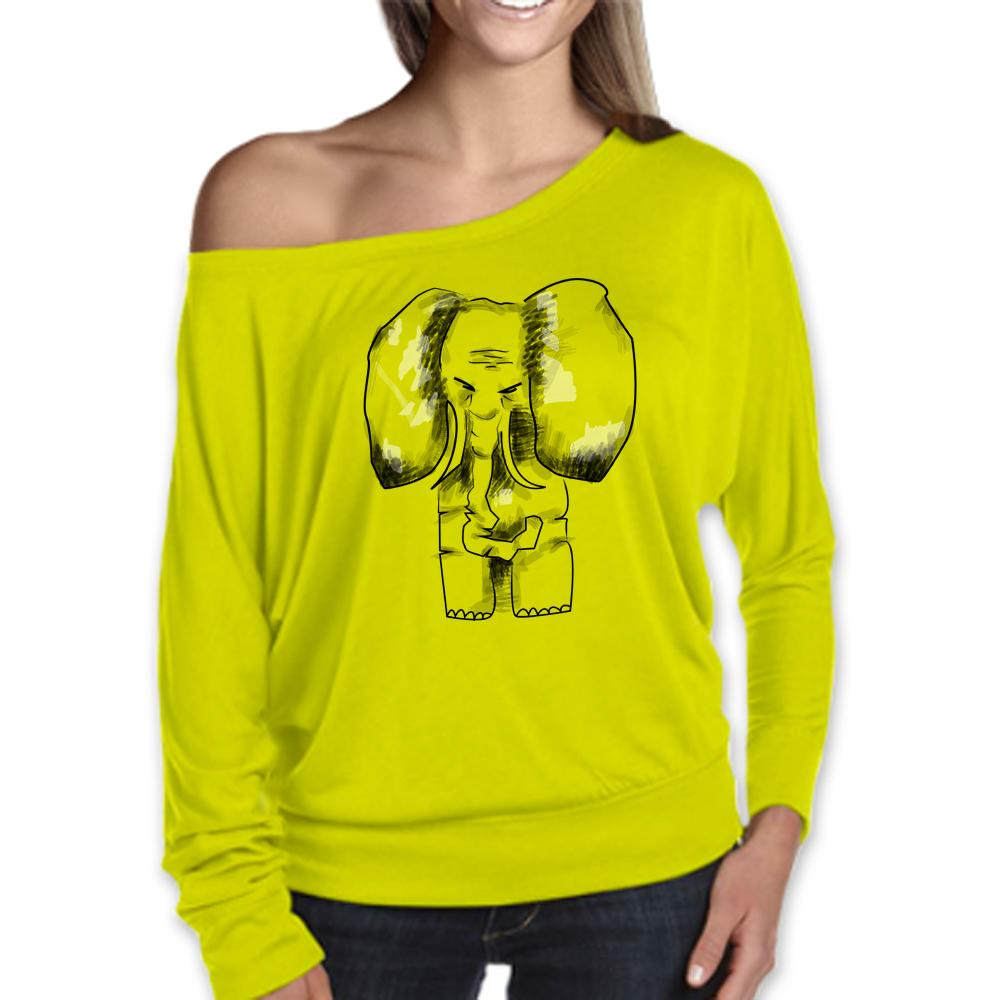 Women Top - Elephant Flowy Top, Neon Yellow