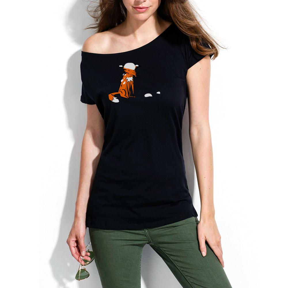 Women Top - Fox And Snow T Shirt, Off Shoulder