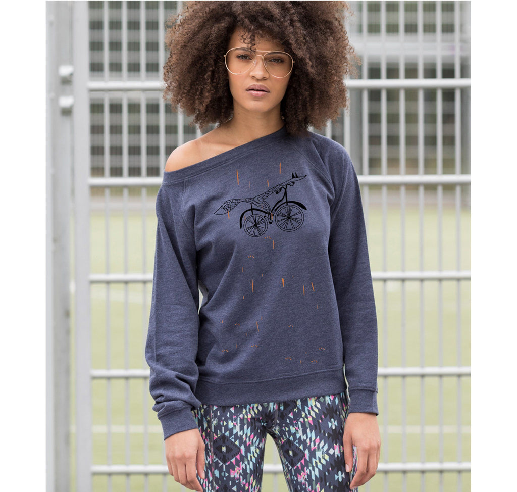 Women Top - Fox On A Bike Jumper, Navy Marl