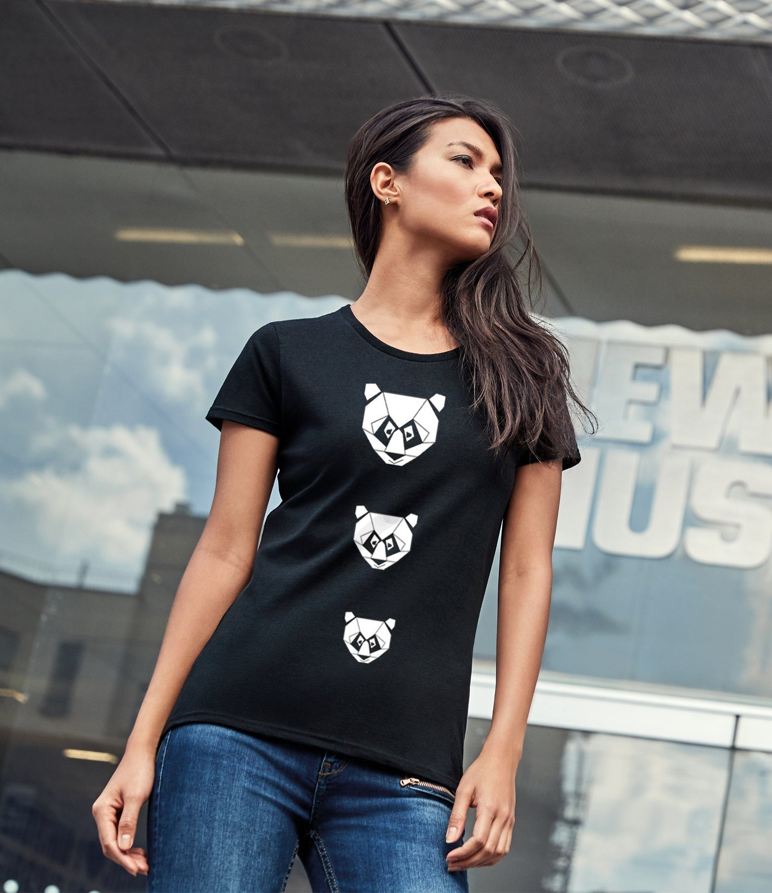 Women Top - Geometric Panda T-shirt