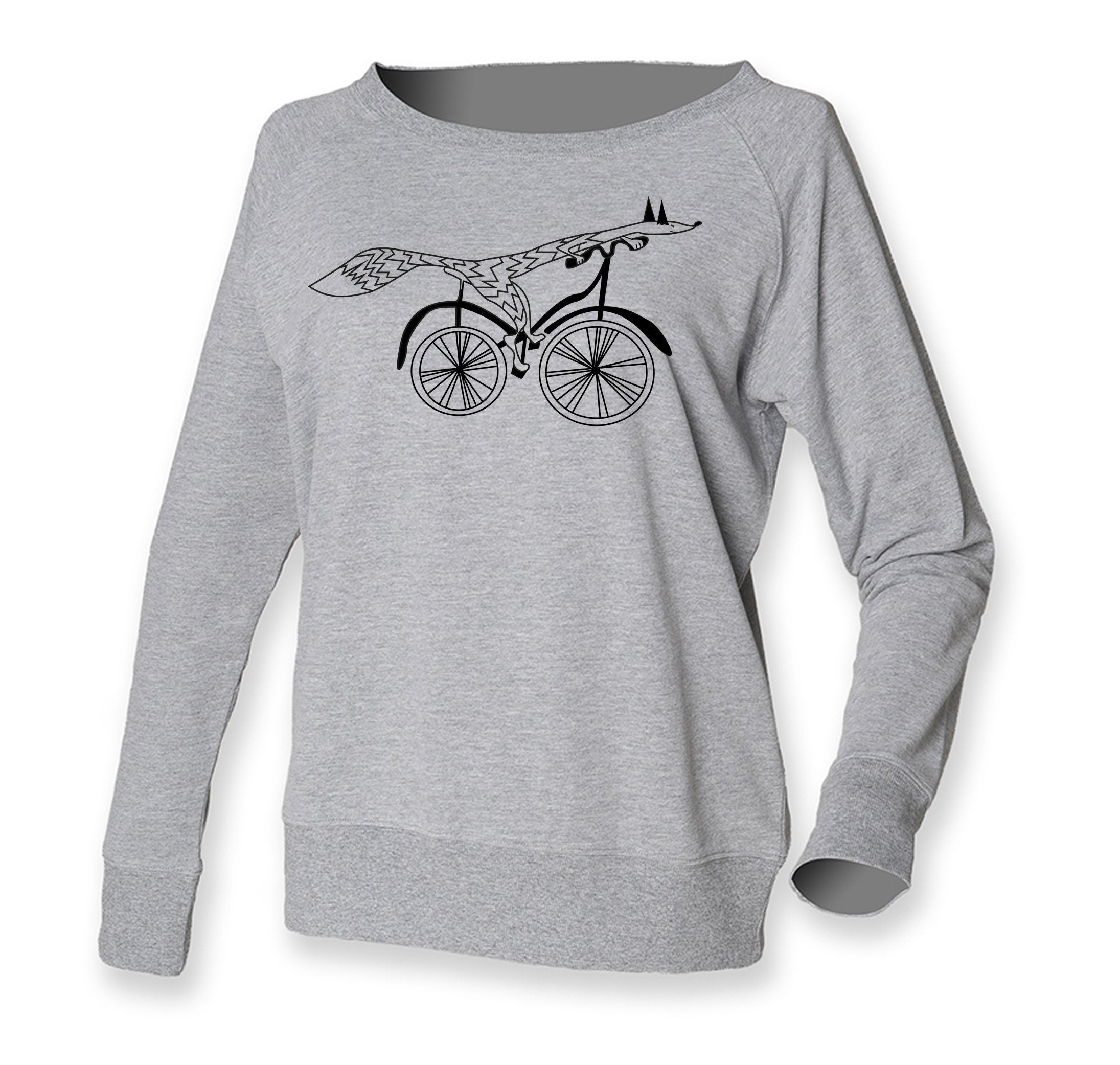 Women Top - Grey Fox On A Bike Jumper