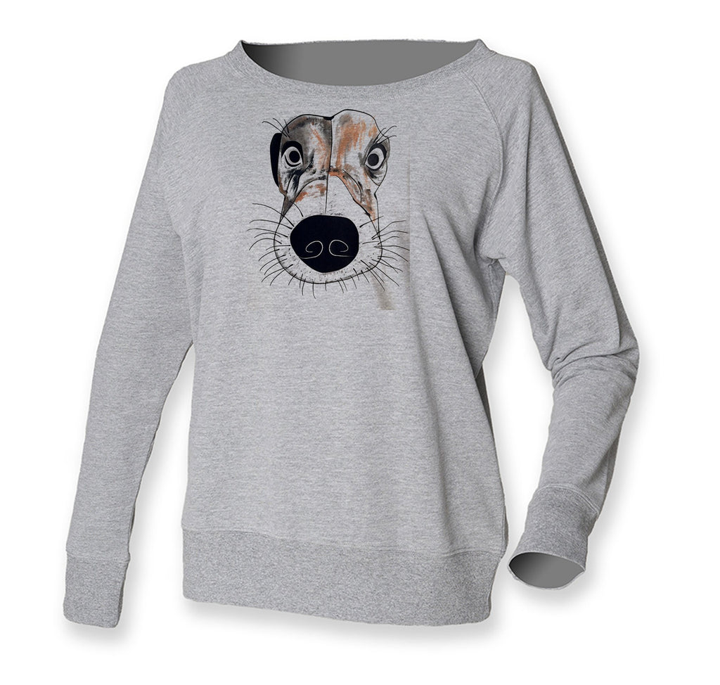 Women Top - Jack Russel Face Jumper, Grey