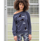 Women Top - Jumping Fox Jumper, Navy Marl