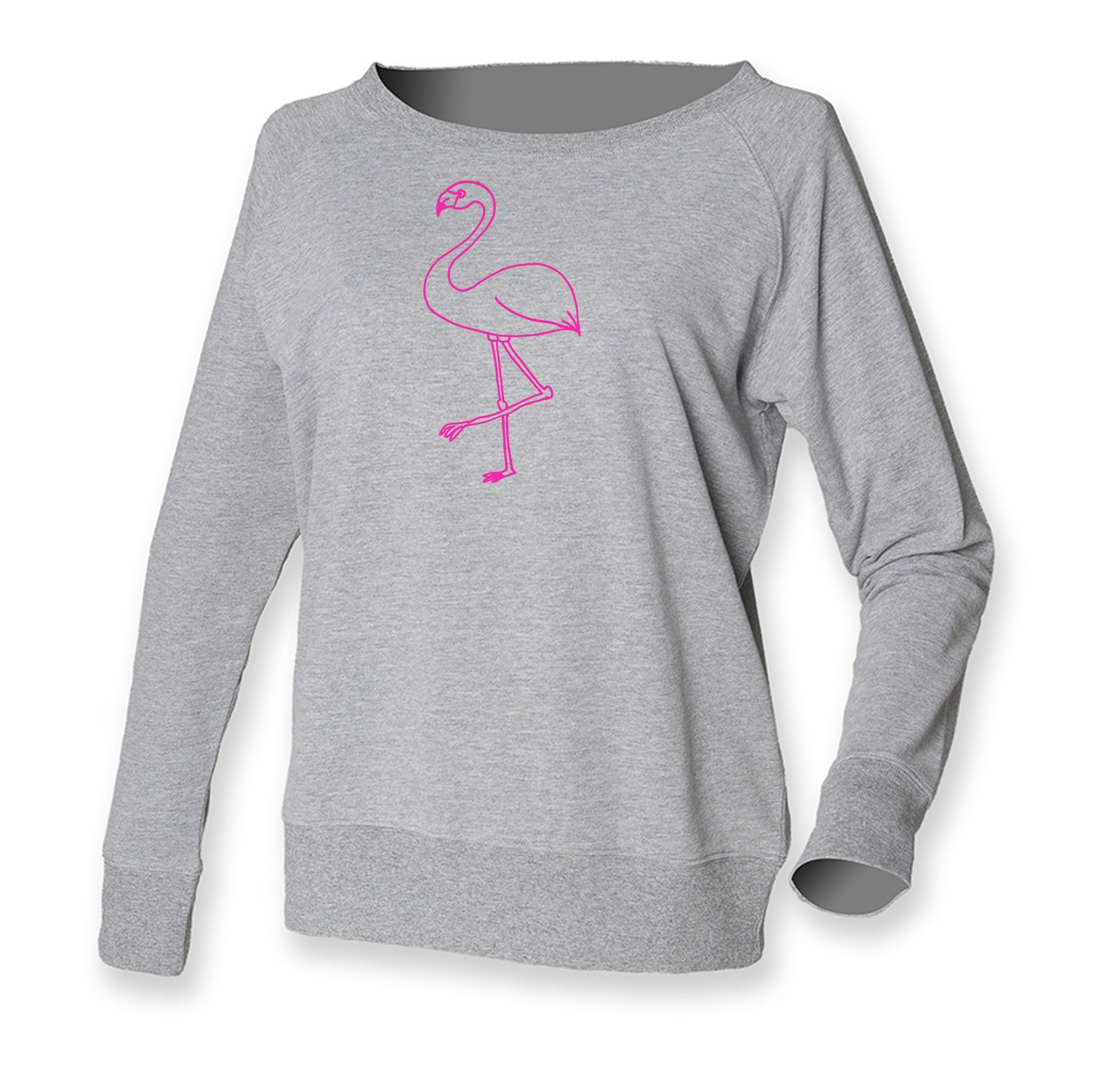 Women Top - Pink Flamingo Jumper, Grey