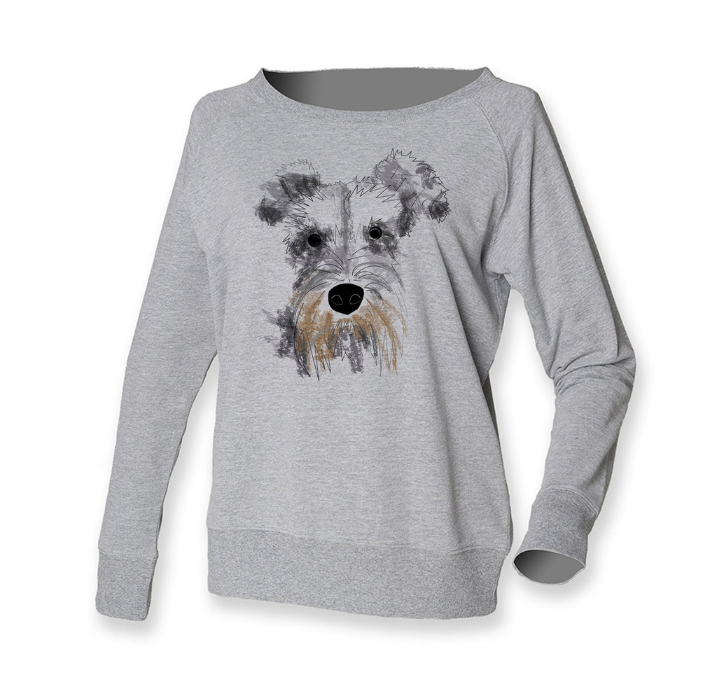 Women Top - Schnauzer Jumper, Grey