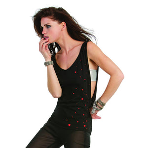 Women Top - Sleeveless Tank Top, Red Dots