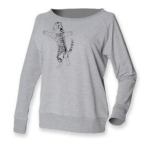 Women Top - Tiger Jumper, Grey/black