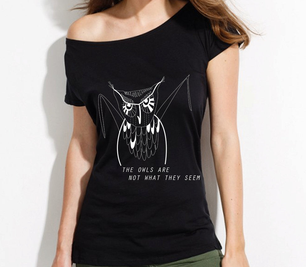 Twin Peaks Owl t-shirt, loose fit off shoulder top - ARTsy clothing - 1