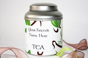 Personalised Tea Gift - Filled with 15 Pyramid Teabags - Choice of 6 tea blends and 13 designs