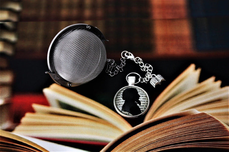 Charles Dickens Inspired Tea Infuser With Glass Cabochon