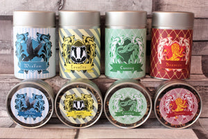 harry potter inspired wizarding houses tea tins