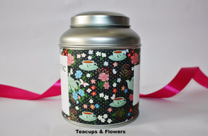 Personalise your tea caddy for a unique gift - teacups and flowers