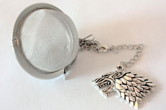 Inspired by Game of Thrones Tea Infuser With Removable Charm - House of Stark - Stainless Steel Tea Ball