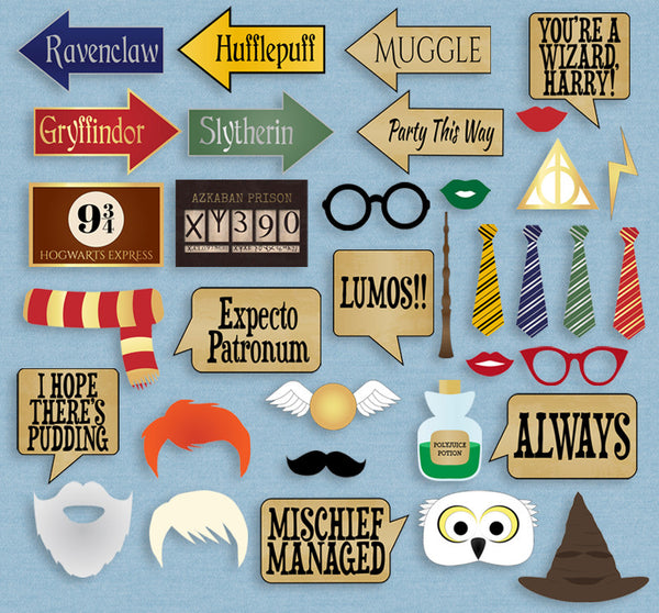 35 x Harry Potter Printable Party Props