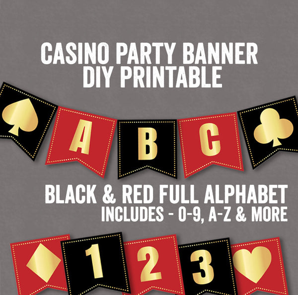 Casino Night Party Banner in Red and Black - 2 Full Alphabets and Numbers
