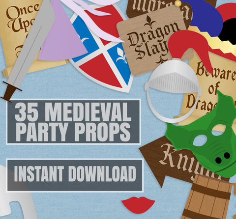 35 x Medieval Party Photo Booth Props