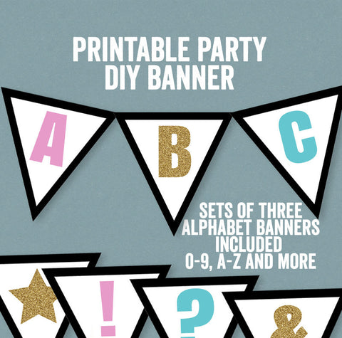DIY Colorful Gold, Pink and Blue Banner - Full Alphabet/Numbers