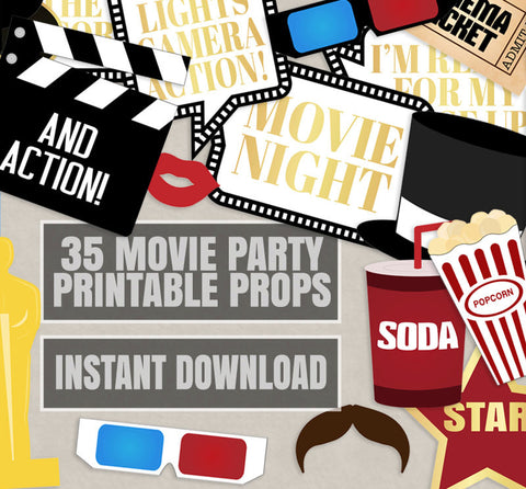 35 x Movie Night Party, Hollywood Printable Props