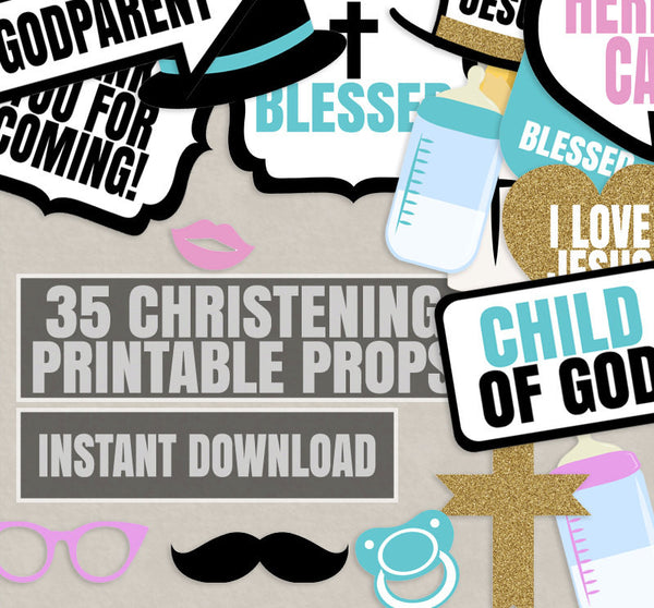 35 x Christening Photobooth Printable Props