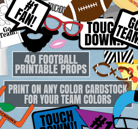 40 x Any Color Printable Football Party Props - Print on any color cardstock to match your team