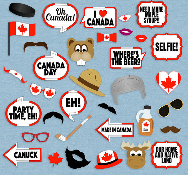 35 x Canada Party Photo Booth Props