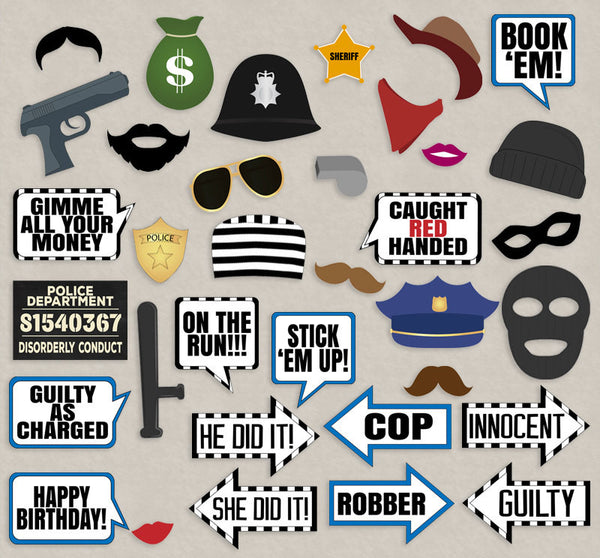 35 x Cops and Robbers Party Prop Printables