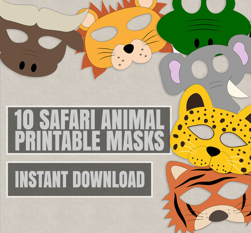 10 x Safari Animal Mask Printables for Kids Party Games