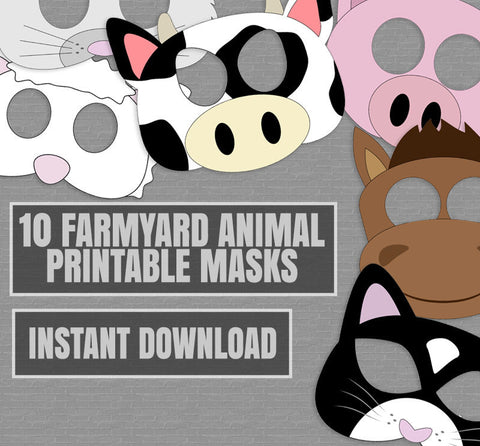 10 x Farm Animal Mask Printables for Party Games