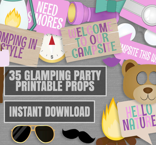 35 x Glamping Party Photo Booth Props