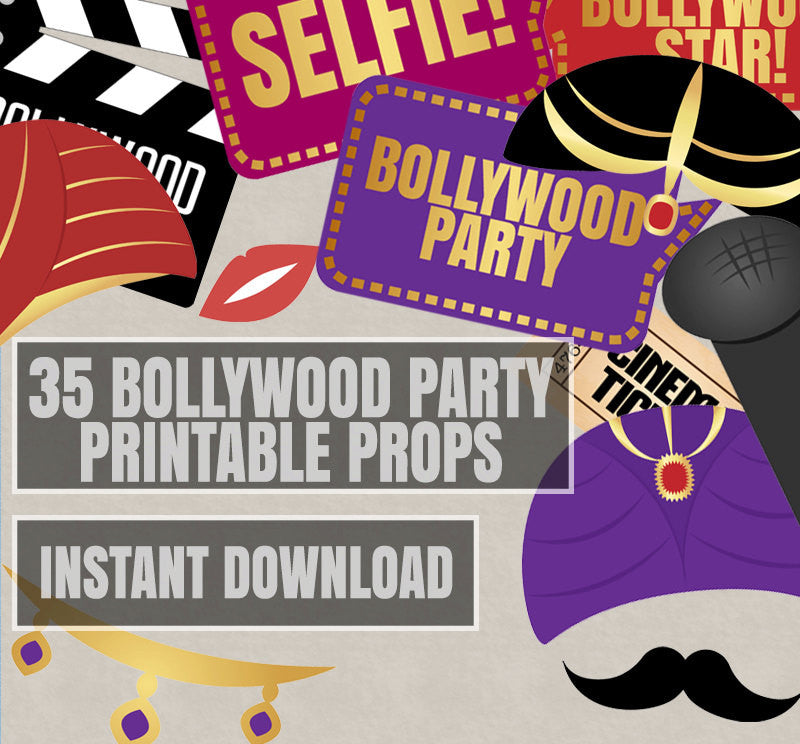 35 x Bollywood DIY Photo Booth Props – Pixels and Pine Printables