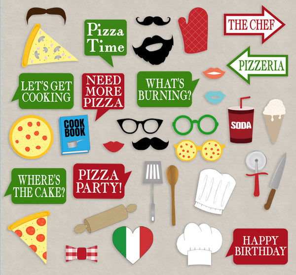 35 x Pizza Printable Party Photo Booth Props