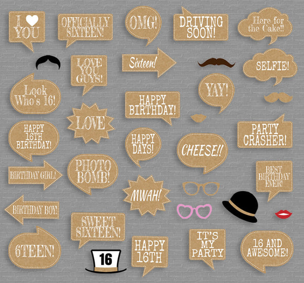35 x Rustic Sweet Sixteen Printable Photobooth Props