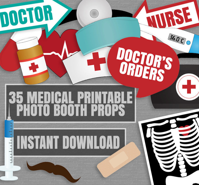 35 x Medical Themed Party Photo Booth Props