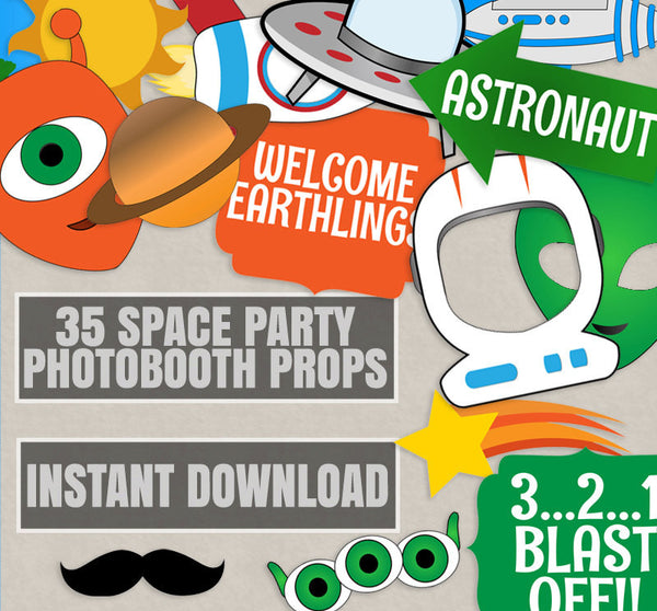 35 x Space Party, Printable Photo Booth Props