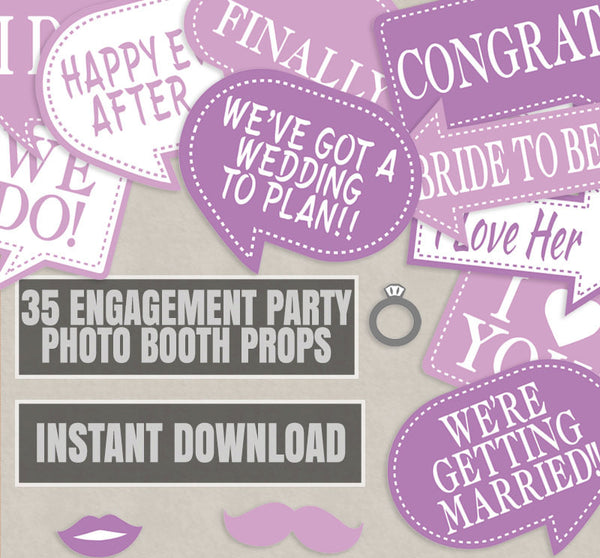 35 x Pink Engagement Photo Booth Props
