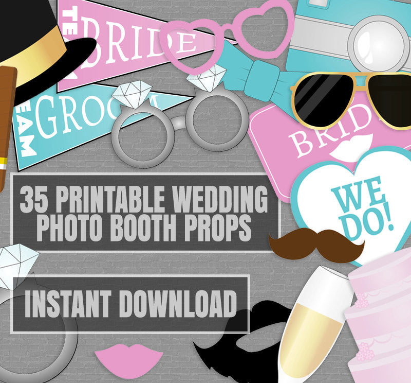35 x Fun Wedding Photo Booth Printable Props