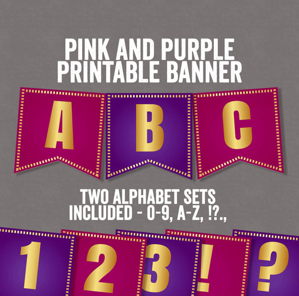 DIY Pink and Purple Party Printable Bunting - Full Alphabet and Numbers